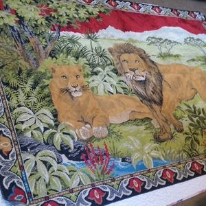Vintage 1970s Lion Safari Woven Wall Tapestry